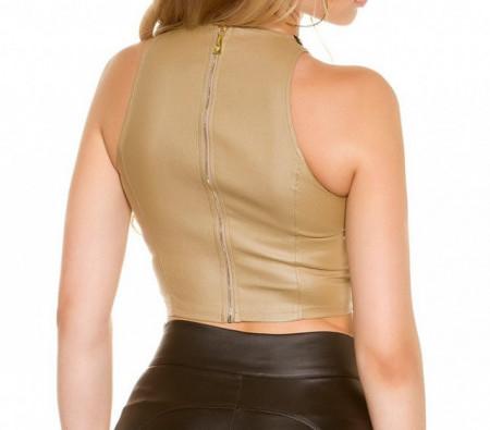 TOP BEIGE FILI ORO donna canotta corta sottogiacca elastica maglietta giromanica elegante AZ34