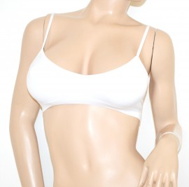 TOP BIANCO REGGISENO push up imbottito sottogiacca sexy ragazza elastico R1