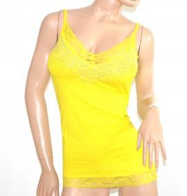 TOP canotta donna GIALLO pizzo strass maglietta sottogiacca cerimonia sexy scollo V elegante A6