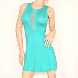 new product 1fb55 f8cdc Abito donna verde acquamarina cerimonia ELEGANTE strass\brillantini vestito  VELATO miniabito damigella 75A