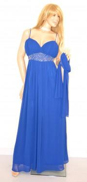 ABITO LUNGO BLU vestito donna CERIMONIA Elegante seta chiffon CRISTALLI dress 1A