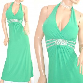 new arrival 81910 4f3f8 ABITO LUNGO elegante VERDE vestito donna cerimonia da sera strass party  festa E10