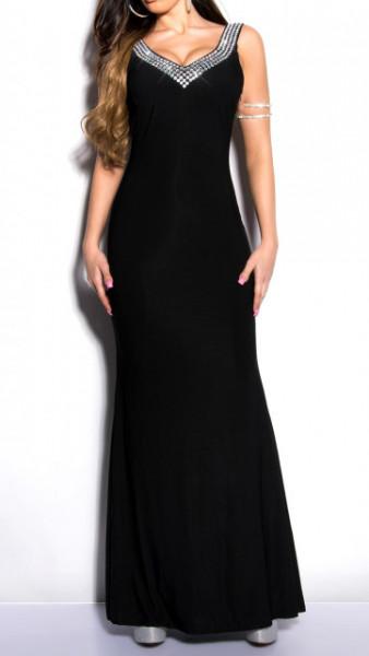 ABITO LUNGO NERO donna vestito decoltè cristalli giromanica cerimonia elegante dress A30
