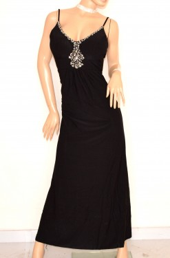 ABITO NERO LUNGO donna cerimonia elegante strass cristalli vestito da sera party E135