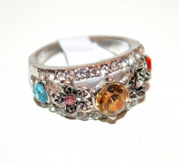 ANELLO argento fedina donna strass cristalli ambra arancio rosa azzurro veretta A35-8