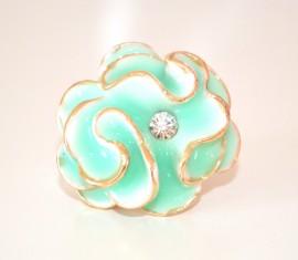 ANELLO donna ORO VERDE ACQUAMARINA fiore smaltato strass cristallo elegante cerimonia ring L35
