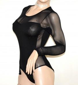 acquisto economico 26343 d755e BODY MAGLIETTA NERA donna strass neri sottogiacca manica lunga velata sexy  elegante cerimonia E28