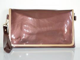 BORSELLO BRONZO donna borsa vernice pelle pvc oro pochette borsetta da sera H1