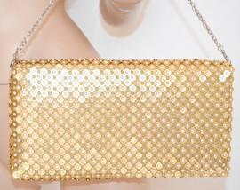 BORSELLO donna ORO borsa POCHETTE da cerimonia dorata strass CRISTALLI elegante da sera 75N