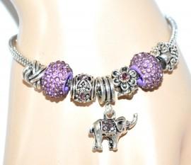 BRACCIALE donna argento ciondoli STRASS Lilla brillantini pendente ELEFANTINO bracelet 4X