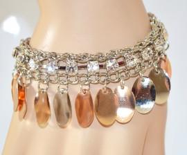 Bracciale donna ARGENTO cristalli ciondoli oro rosa strass catena elegante 285