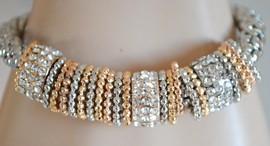 BRACCIALE donna ARGENTO mono maglia con anelli argento\oro rosa strass cristalli brillantini zirconi elastico B49