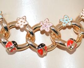 BRACCIALE donna ORO catena dorato fiori coccinelle portafortuna bracelet H1