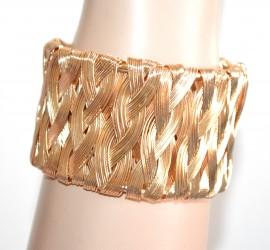 BRACCIALE donna oro dorato rigido a schiava intrecciato bracelet pulsera A100