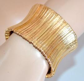 BRACCIALE donna ORO RIGIDO a schiava STRASS elegante da cerimonia bracelet 750
