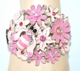 BRACCIALE donna ROSA rigido argento cristalli strass smaltato floreale bracelet  NVA