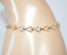 BRACCIALE donna TENNIS elegante cristalli ORO ARGENTO strass brillantini bracelet E38