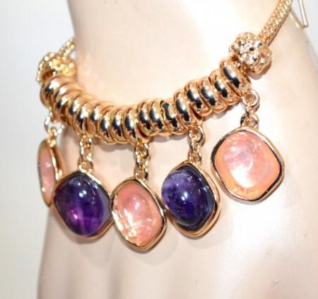 BRACCIALE oro dorato donna pietre viola rosa ciondoli pendenti anelli charm BB44