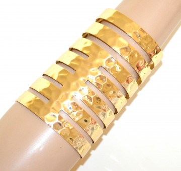 metà fuori e4561 881ab BRACCIALE ORO RIGIDO donna a schiava dorato metallo lucido sexy martellato  G62