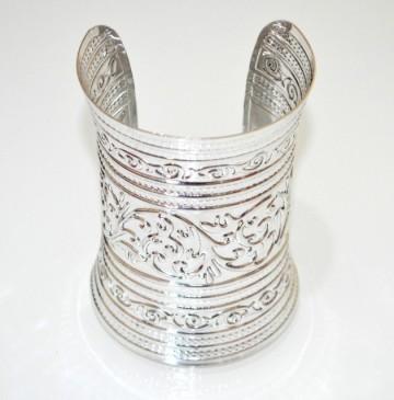 Bracciale rigido argento platino etnico a schiava donna sexy polsiera alto 10 cm A5C