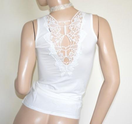 CANOTTA BIANCA donna top ricamato maglia strass t-shirt maglietta girocollo cotone G100