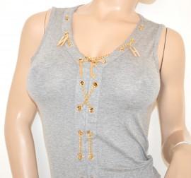 CANOTTA TOP GRIGIO donna MAGLIETTA sexy sottogiacca ORO giromanica t-shirt da cerimonia elegante 40X