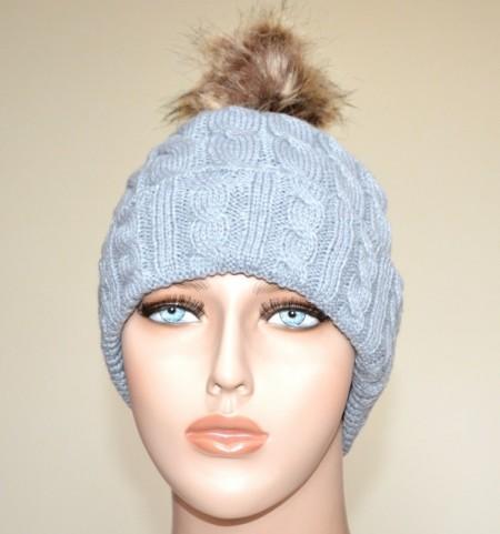 CAPPELLO GRIGIO donna berretto copricapo pon pon eco pelliccia trecce imbottito casquette Hut G5