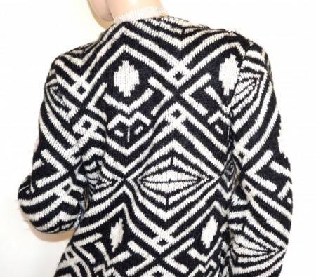 CARDIGAN maglione aperto nero beige donna tipo lana maniche lunghe cappotto girocollo + spilla G80
