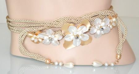 CINTURA GIOIELLO donna oro dorata perle fiori argento cristalli elegante BB35