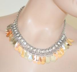 Collana donna girocollo ARGENTO collarino strass cristalli ciondoli oro rosa collare 126