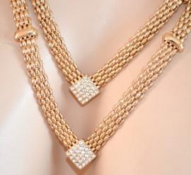 COLLANA donna GIROCOLLO ORO ELEGANTE dorato strass collar collier necklace 330