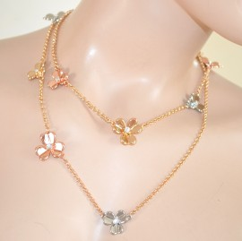 COLLANA donna LUNGA girocollo ORO fiori cristalli da cerimonia ELEGANTE collier 525
