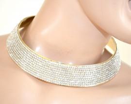 COLLANA donna ORO dorato COLLARINO STRASS girocollo da cerimonia cristalli elegante E99