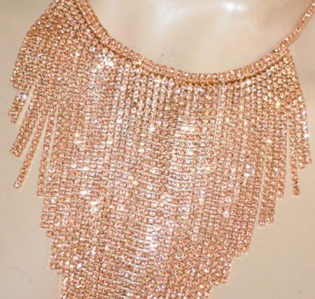 COLLANA donna oro strass rosa girocollo collier fili cristalli elegante cerimonia BB30