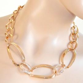 immagini dettagliate f34eb e4fc1 COLLANA girocollo donna ORO STRASS CRISTALLI dorata anelli elegante  cerimonia A69