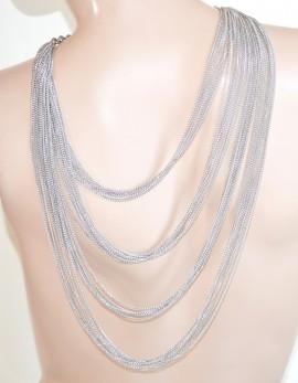 COLLANA LUNGA donna ARGENTO elegante multi fili collier schiena da cerimonia E35