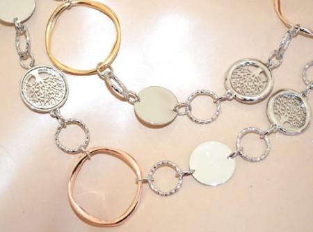 COLLANA LUNGA donna argento girocollo catena metallo anelli oro rosa ciondoli BB20