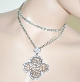 COLLANA lunga girocollo donna argento fili strass fiore filigrana brillantini 86