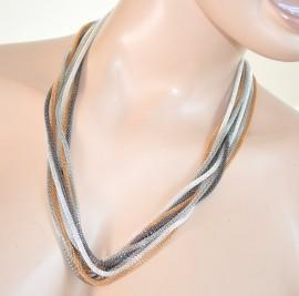 COLLANA LUNGA girocollo donna fili argento oro sexy necklace collier collar 210A