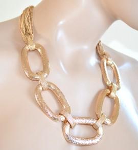COLLANA ORO donna catena anelli ovali fili dorati ELEGANTE collier da cerimonia 715