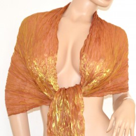 Coprispalle seta maxi stola foulard cerimonia donna oro tinta unita metallizzato elegante sera vestito 115P