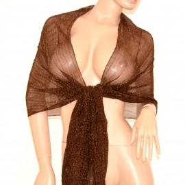 Coprispalle stola foulard MARRONE BRONZO donna scialle tinta unita lurex elegante 150
