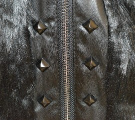 GIUBBINO NERO donna eco PELLE PELLICCIA giacca giubbotto giaccone giacchino S M L G84