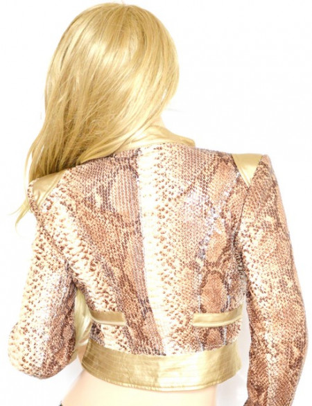 GIUBBINO ORO DORATO BEIGE BRONZO donna Giacca Slim Giubbotto eco Pelle Paillettes stampato rettile Elegante Jacket G08