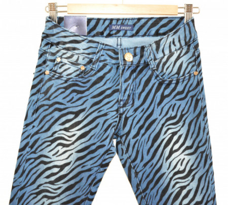 JEANS BLU donna pantalone zebrato nero vita bassa skinny slim tg S\40 B10