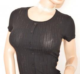 MAGLIA donna maglietta NERA cotone sottogiacca mezza manica corta strass E165