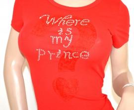 MAGLIA ROSSA donna manica corta T-SHIRT elegante cotone maglietta strass ricamata E95