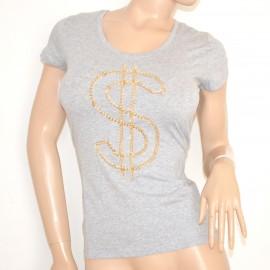 MAGLIETTA donna elegante GRIGIO maglia sottogiacca cotone t-shirt sexy catena oro 5N
