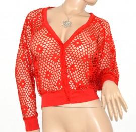 MAGLIETTA donna elegante ROSSA COPRISPALLE maglia cardigan maniche lunghe sexy rete 10X