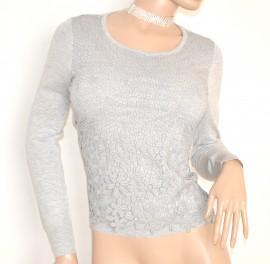 MAGLIETTA donna GRIGIO maglia sottogiacca elegante ricamata maniche lunghe girocollo strass cerimonia E50